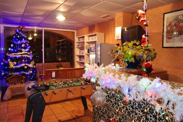 Decorazioni di Natale nella sala biblioteca